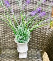 Gorgeous Rustic Decorative Grey Stone Urn With Faux French Lavender Plant